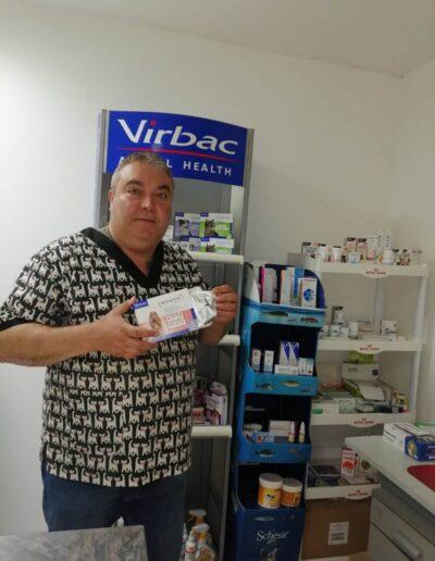 Dr. Zdravko Dimitrov in front of Virbac products